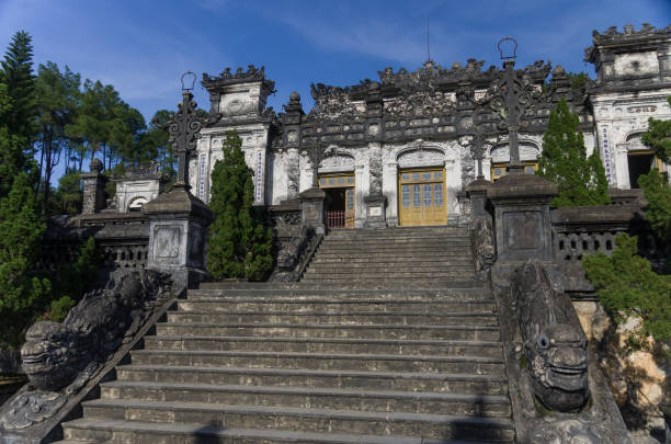 Imperial Khai Dinh Tomb in Hue, Vietnam Imperial Khai Dinh Tomb in Hue, Vietnam khai dinh tomb stock pictures, royalty-free photos & images
