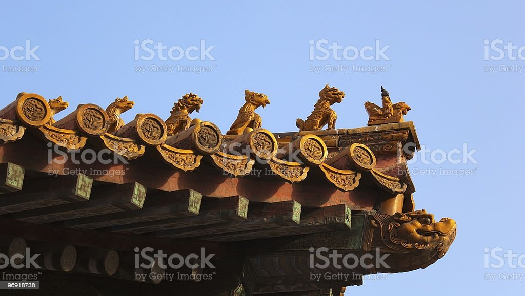 Imperial roof decorations. Forbidden City. Beijing. China. royalty-free stock photo