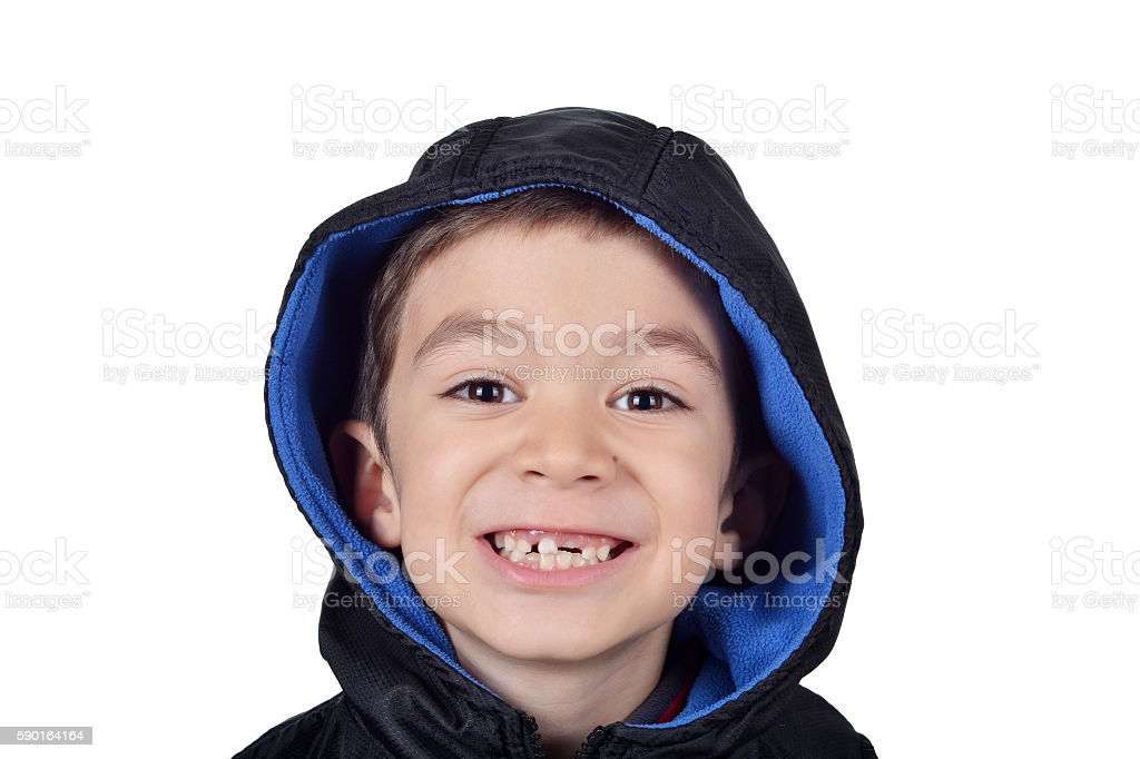 Impermanent and permanent children teeth stock photo