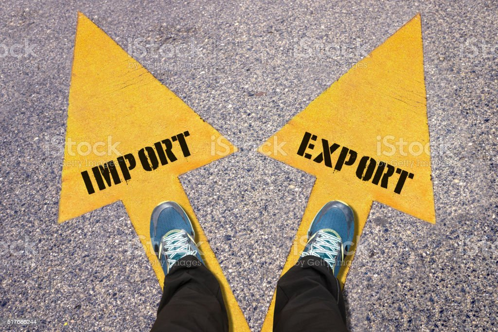 Import and Export painted on road stock photo