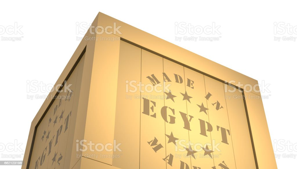 Import - Export Wooden Crate. Made in Egypt. 3D Illustration royalty-free stock photo