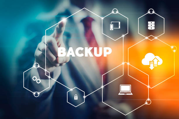 Importance of backups Data security backup concept business man selecting word from modern virtual interface recovery stock pictures, royalty-free photos & images