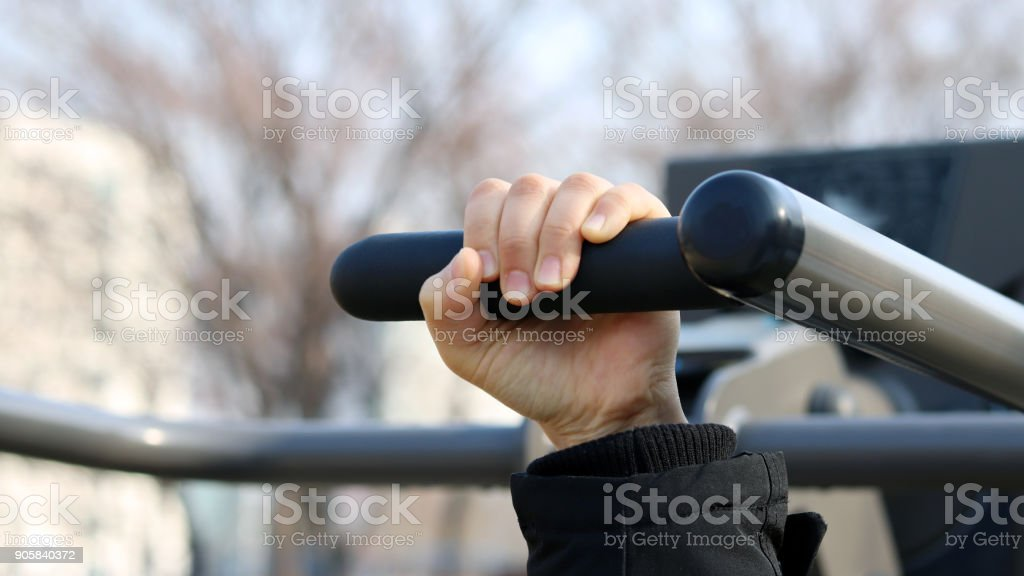 Importance of winter health care. Sports equipment in the park stock photo