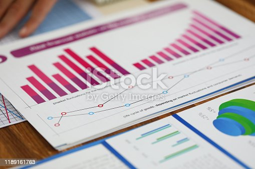 Close-up of biz documents with statistics data in charts, graphs and diagrams. Financial forecast of growth income. Stock Exchange, Securities Market concept. Blurred background