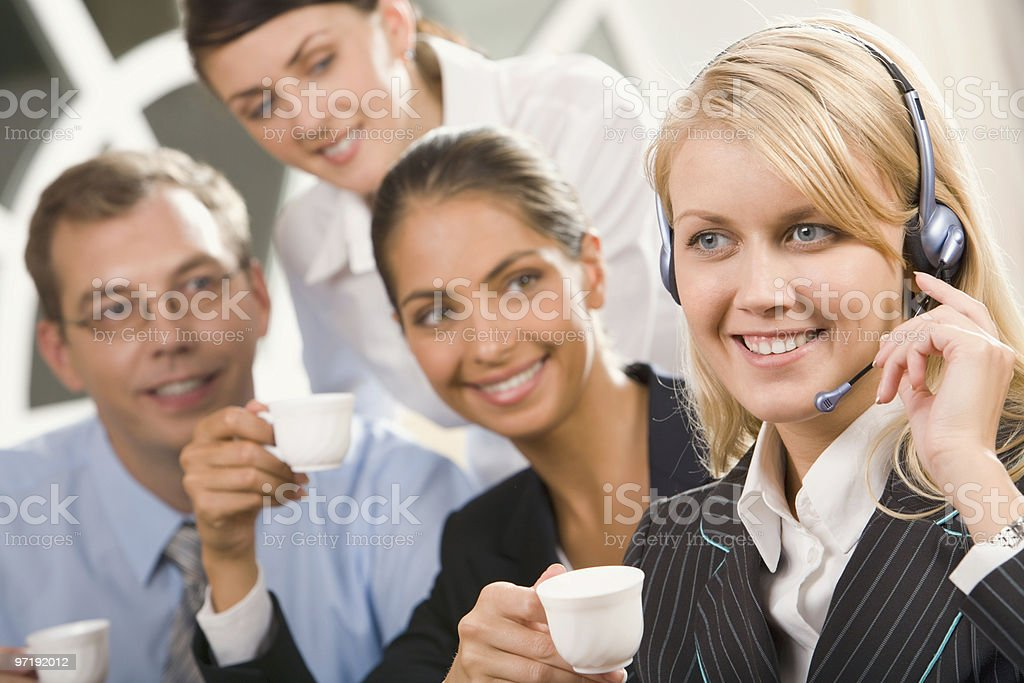 Important call while coffee break royalty-free stock photo