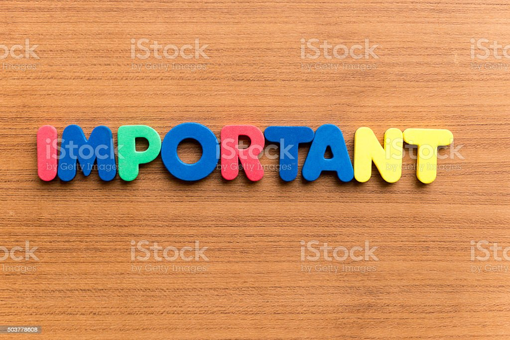 important  colorful word stock photo