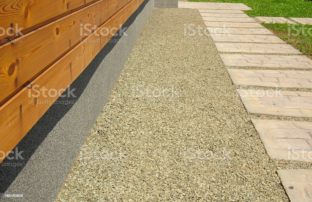 Important detail on new construction waterproofing basement walls. Foundation waterproofing systems stock photo