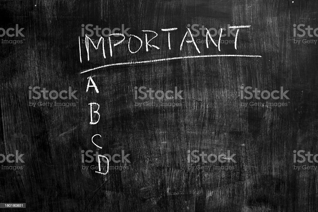 Important list on blackboard royalty-free stock photo