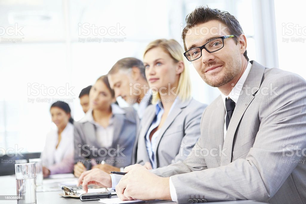 Important meeting with his colleagues royalty-free stock photo