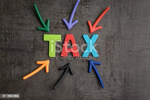 istock Important of tax in accounting business, colorful arrows pointing to the word TAX at the center on black cement wall, financial income have to pay or refund yearly government tax by law 911862960