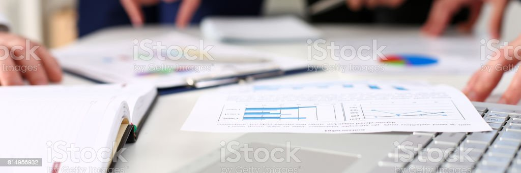 Important paper lie at table stock photo