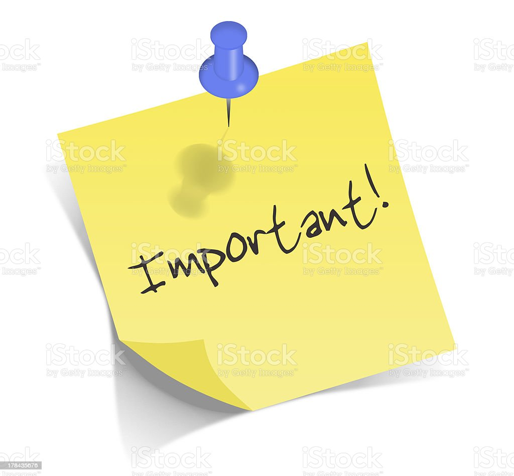 Important post it note with blue pin royalty-free stock photo