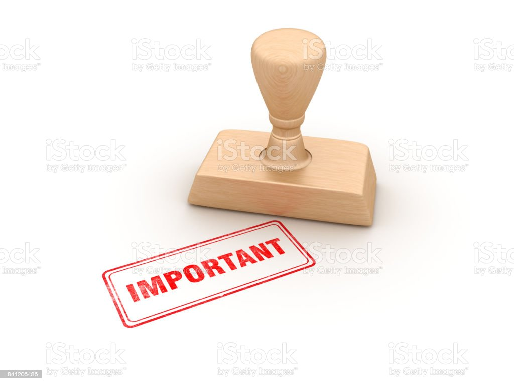 Important Rubber Stamp - 3D Rendering stock photo