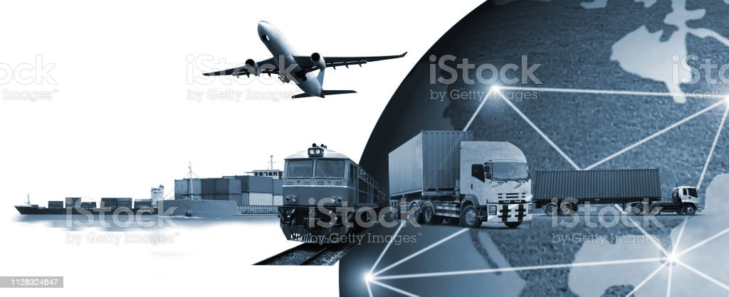 Abstract image of the world logistics, there are world map background...
