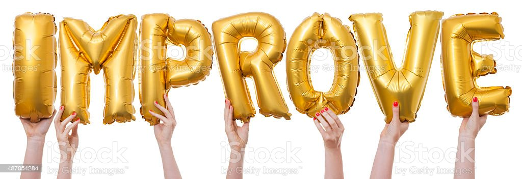 Imporve word made from gold balloons bildbanksfoto