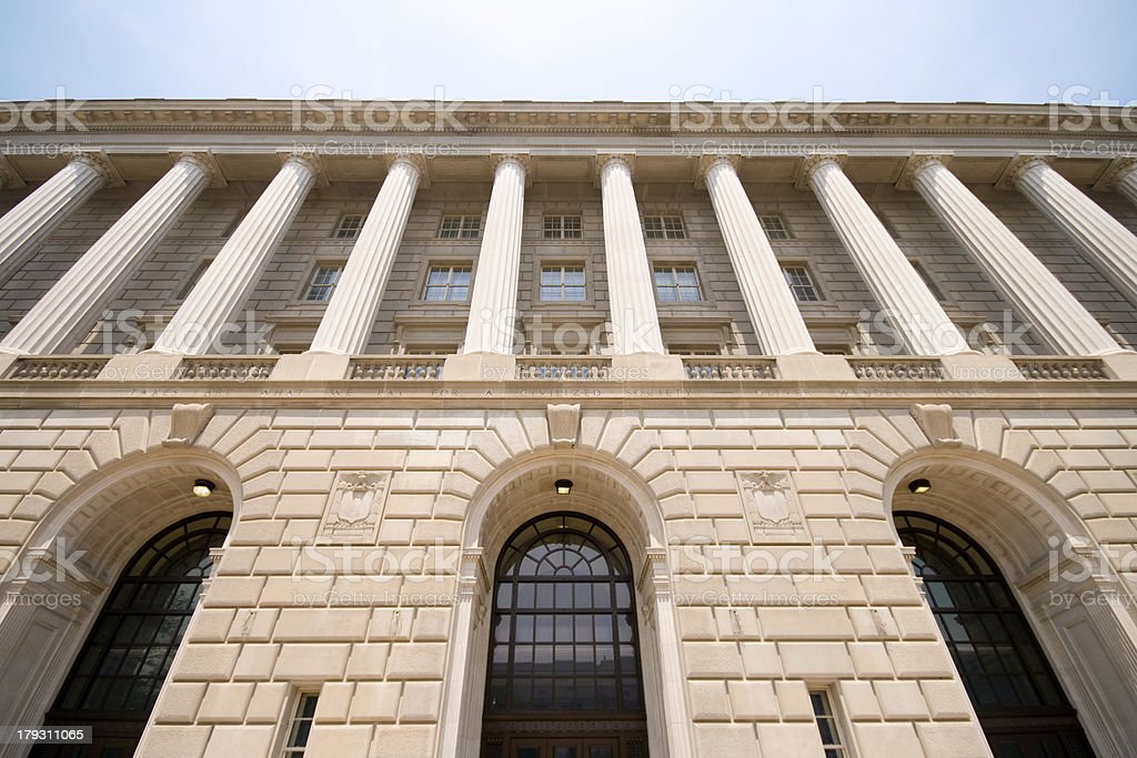 Imposing Facade of IRS Building Washington DC, USA stock photo