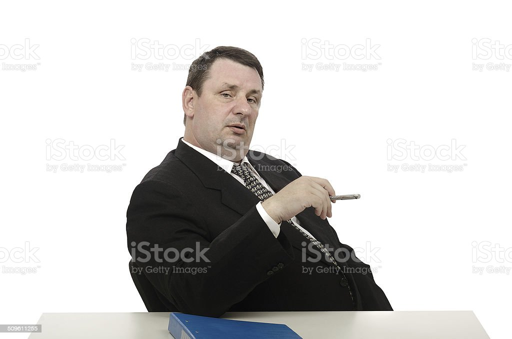 Imposing interviewer looking at camera stock photo