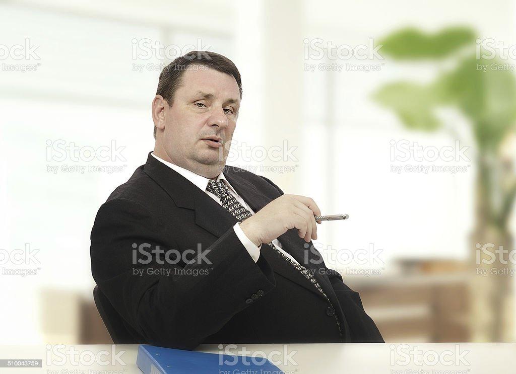 Imposing recruiter beginning stress interview stock photo