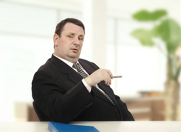 Imposing recruiter beginning stress interview stock photo