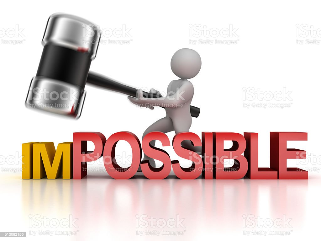 Impossible and men stock photo