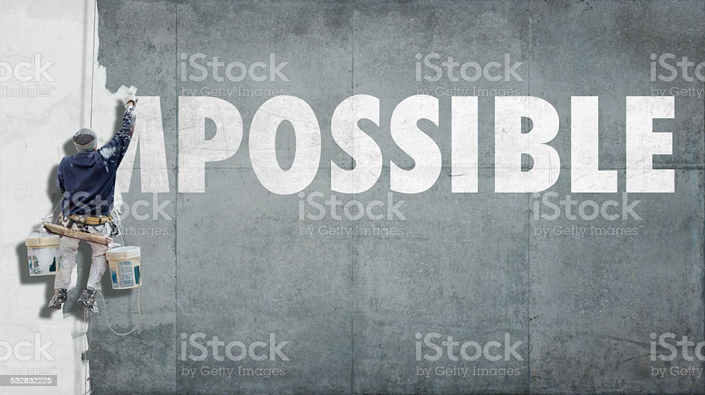 Impossible becoming possible stock photo