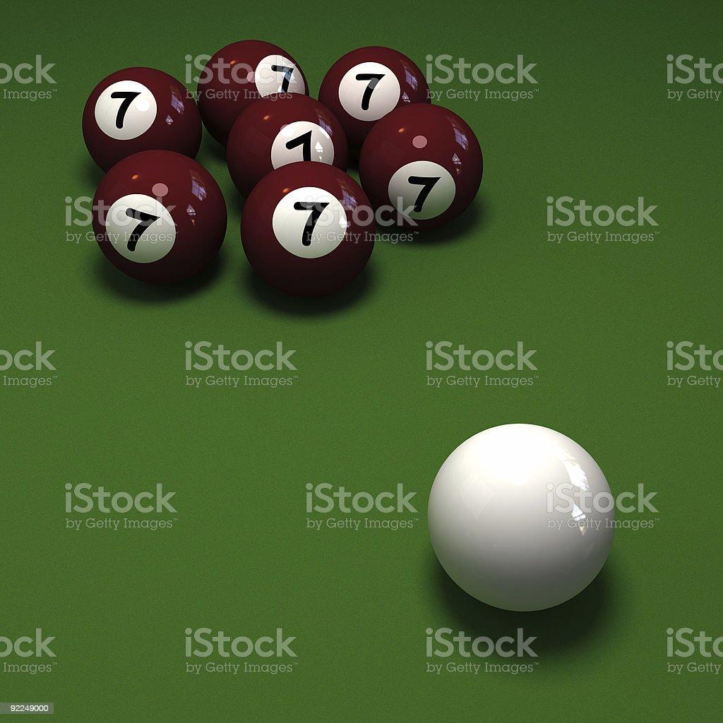 29c520baf21 Impossível jogo de sinuca com bolas com sete o número 7 foto royalty-free