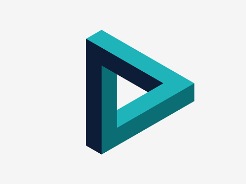 Logo design element, isometric drawing, Impossible shape,  3D illustration