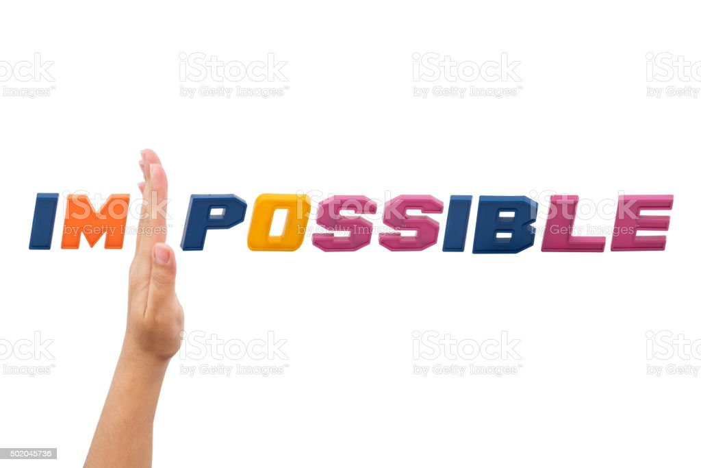 Impossible , word with hand stock photo