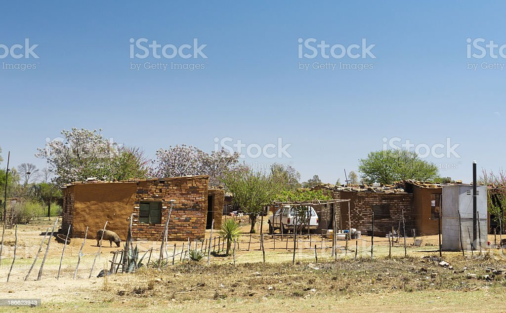 Impoverished rural settlement in South Africa's North West Province stock photo
