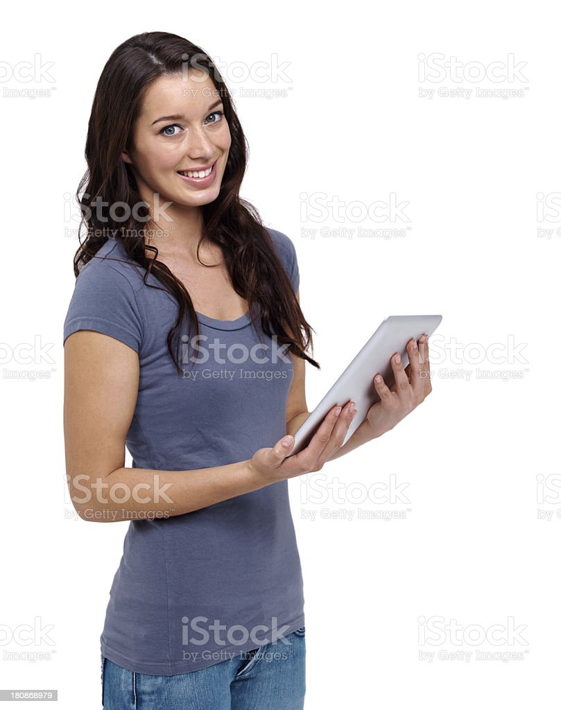 Impressed with her new tablet royalty-free stock photo
