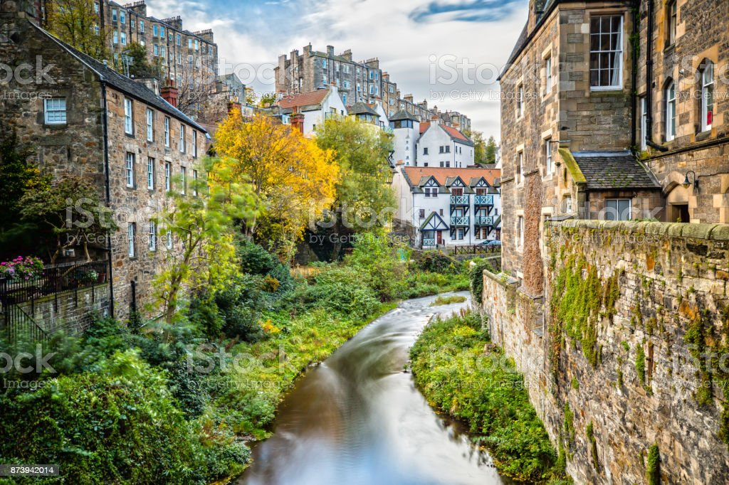 Impression of Dean Village in Edinburgh stock photo