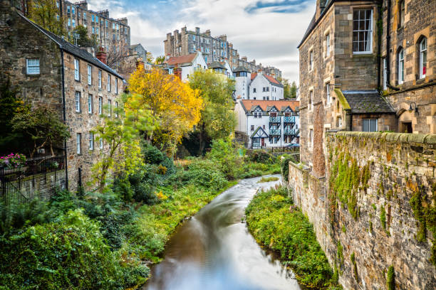 Impression of Dean Village in Edinburgh Long Exposure of Dean Village in Edinburgh edinburgh scotland stock pictures, royalty-free photos & images