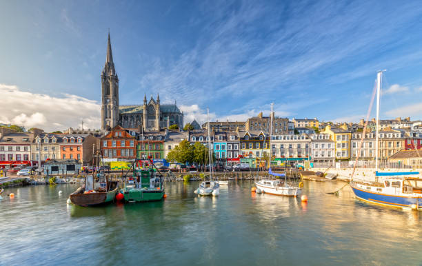 Impression of the St. Colman's Cathedral in Cobh near Cork, Ireland stock photo