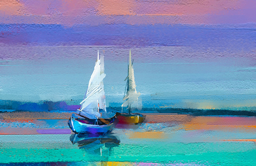 Impressionism image of seascape paintings with sunlight background. Modern art oil paintings with boat, sail on sea.
