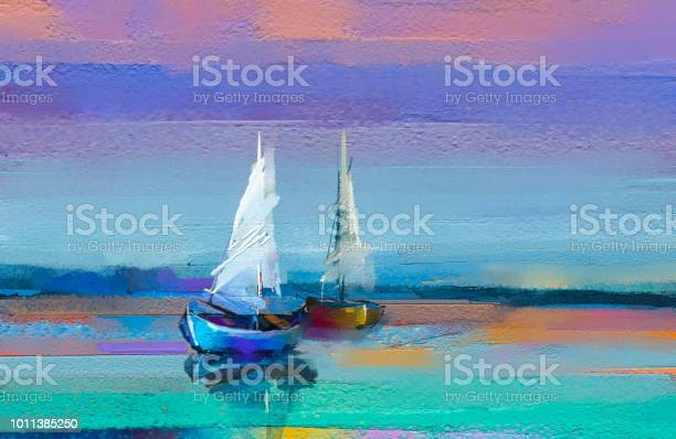 Photo of Impressionism image of seascape paintings with sunlight background. Modern art oil paintings with boat, sail on sea.