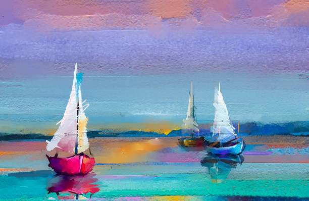 impressionism image of seascape paintings with sunlight background. modern art oil paintings with boat, sail on sea. - impressionist painting stock photos and pictures