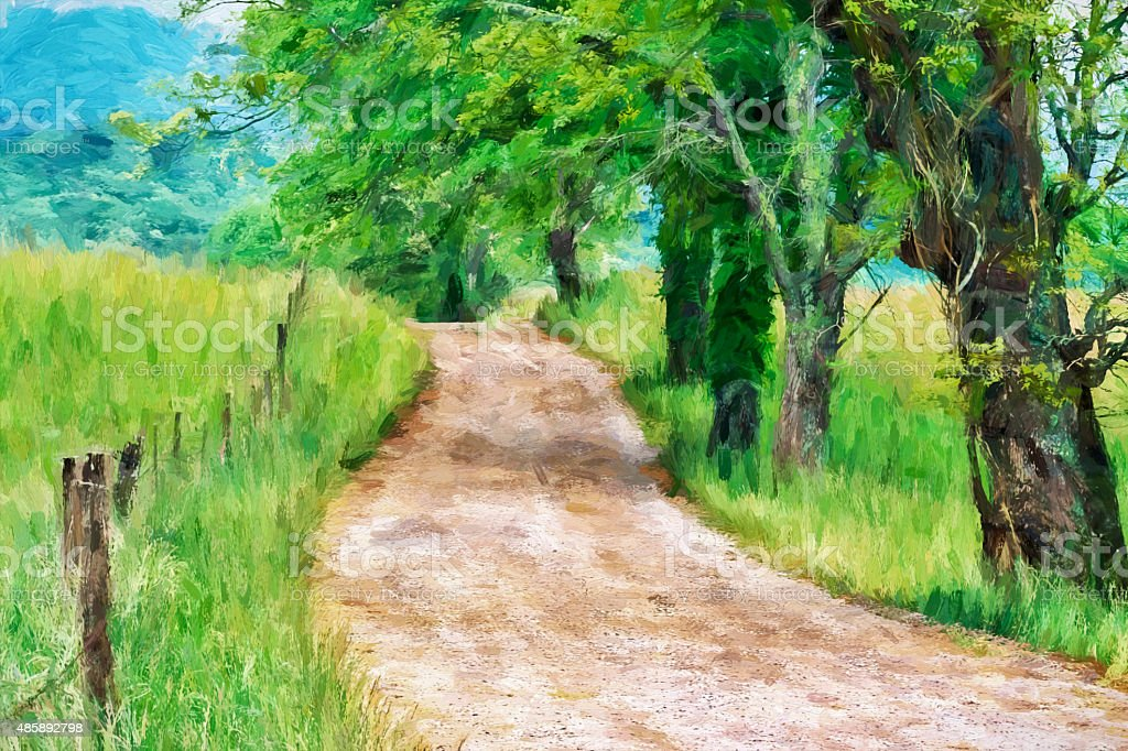 Impressionist art of the Great Smoky Mountains stock photo
