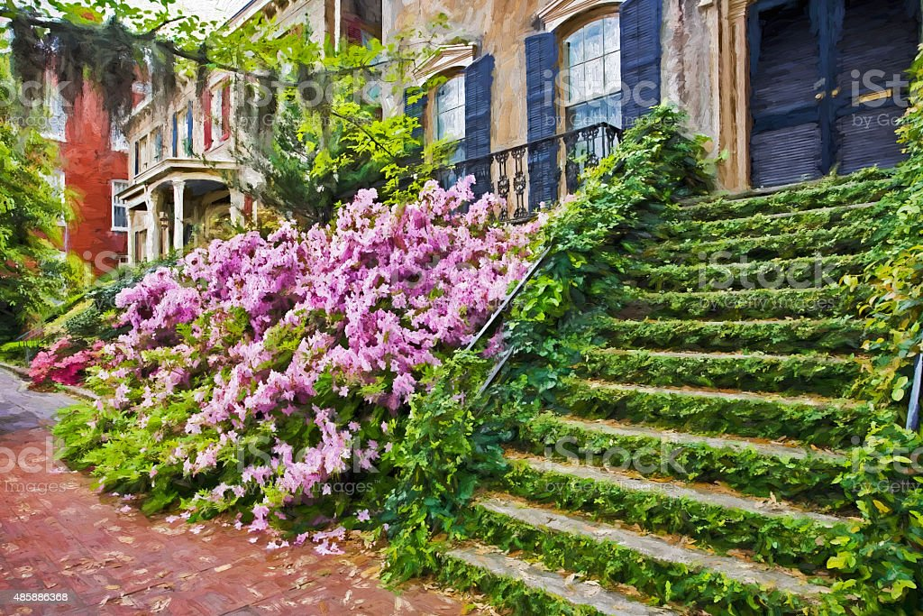 Impressionist art of the historic district of Savannah Georgia stock photo