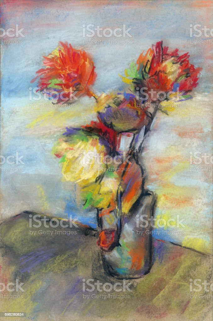 Impressionistic bouquet of flowers stock photo