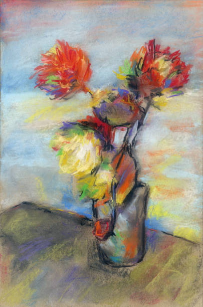 impressionistic bouquet of flowers - impressionist painting stock photos and pictures