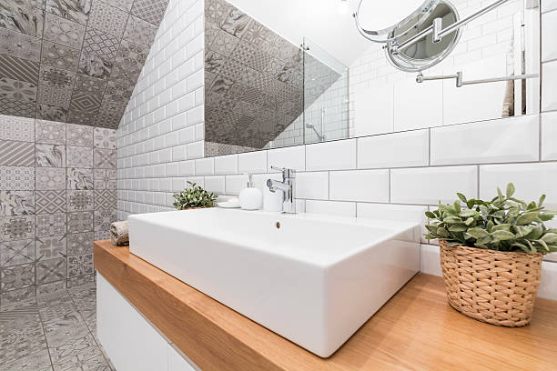Impressive bathroom designed to suit modern woman's needs stock photo