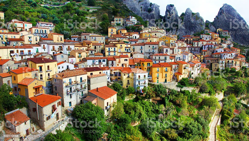 Impressive Castelmezzano,Basilicata,Italy. stock photo