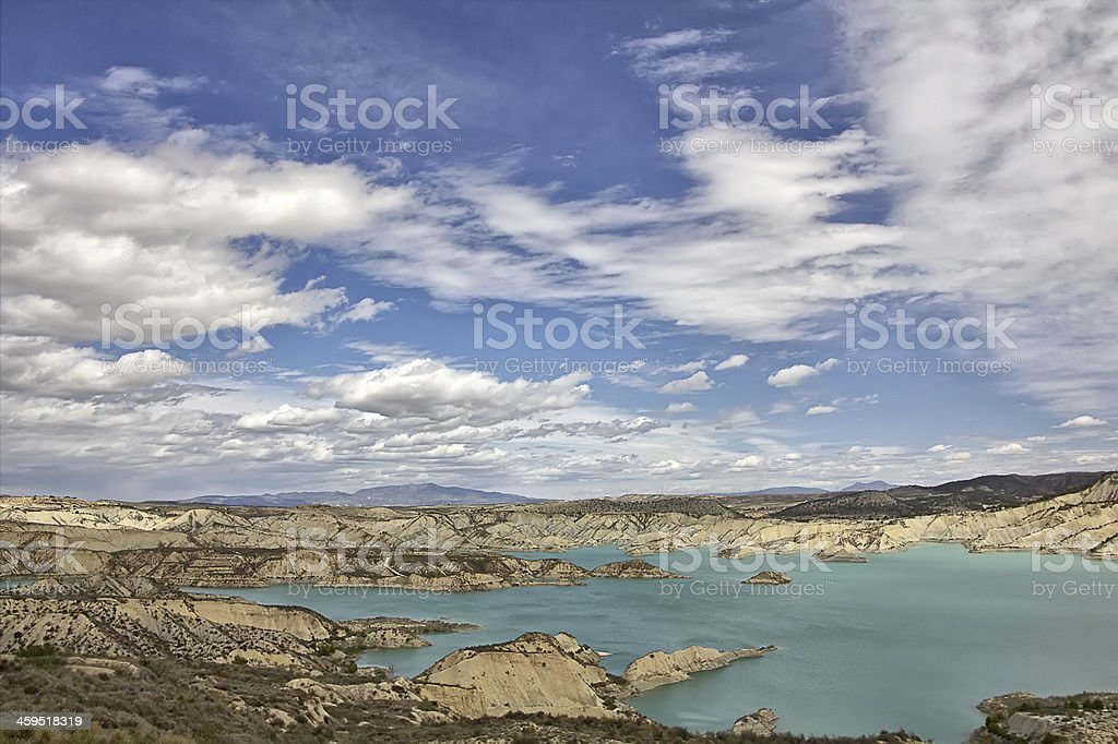 impressive dam colorful waters south of Spain royalty-free stock photo