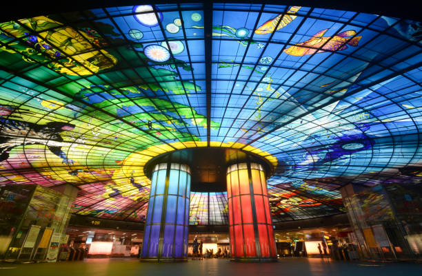 Impressive glass art ceiling mural known as the Dome of Light, at Formosa Boulevard Station stock photo