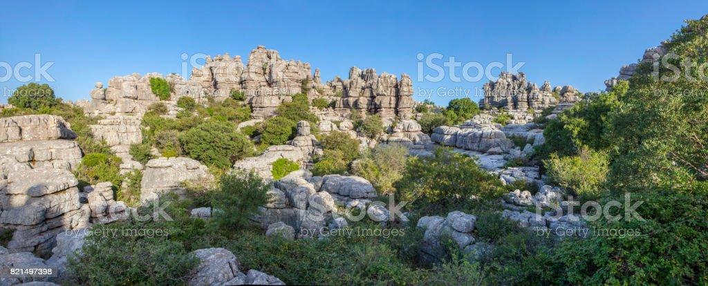 Impressive karst landscapes at Torcal de Antequera, Malaga, Spain stock photo