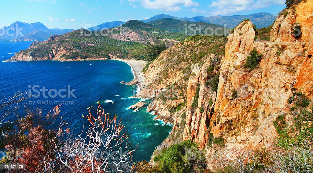 Impressive landscape of Corsica,France. stock photo