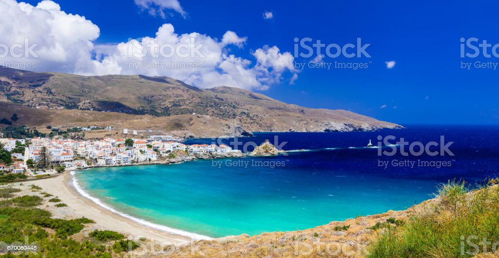 impressive landscapes and beautiful beaches of Greece - Andros island, Cyclades stock photo