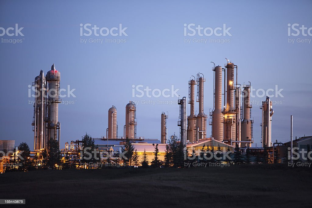 Impressive Looking Gas Plant With Lights At Dusk royalty-free stock photo