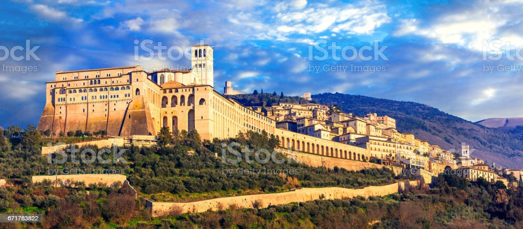 Impressive medieval Assisi town - religios center of Umbria. Italy stock photo