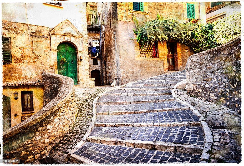 Impressive  old streets of Italian village. stock photo